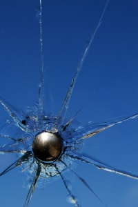 Glass  broken  shot  bullet